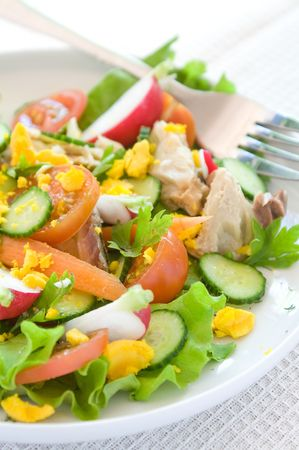 Salad from fresh vegetables for dinner. Stock Photo - 7034504