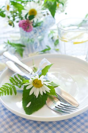 plate setting: cutlery with bow and wild flower on plate