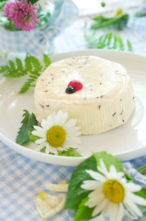 dekorated: Traditional homemade cheese with caraway seeds on the plate. Dekorated with wild flower Stock Photo