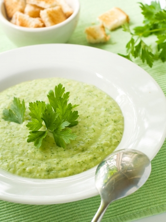 pea: Delicious vegetable soup with potato, broccoli, green beans and parsley