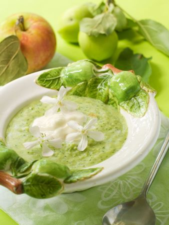 A bowl of green fruit soup for dessert photo
