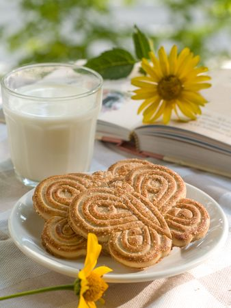 Glass of milk with two cookies. Book with flower on background