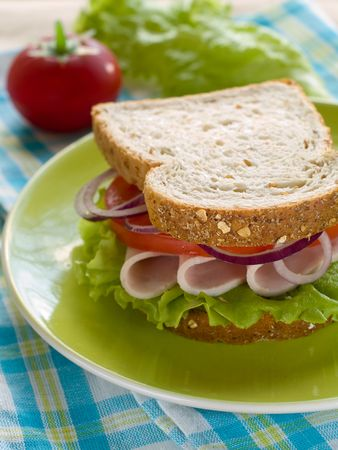 Healthy sandwhich made with whole grain bread, lettuce, tomato and onion photo