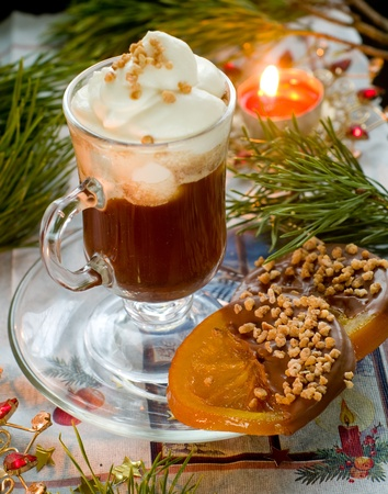 Christmas coffee with orange sweets with chocolate photo