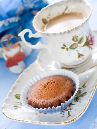 Afternoon tea served with a  cupcake photo