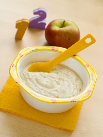 bowl: A bowl of oatmeal porridge for baby. Shot for a story on homemade, organic, healthy baby foods.