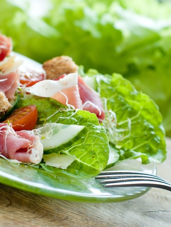 Fresh salad from vegetables, cheese and ham Stock Photo
