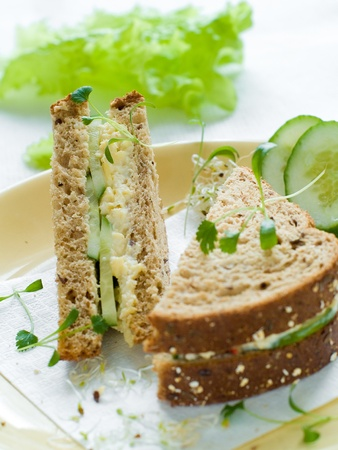 Healthy sandwich with fresh cucumber and egg for breakfast photo