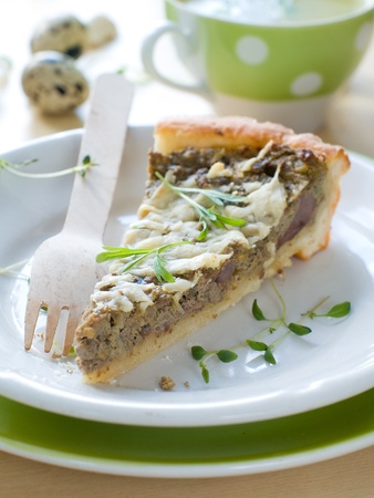 minced pie: Minced meat pie with cup of chicken stock on background Stock Photo