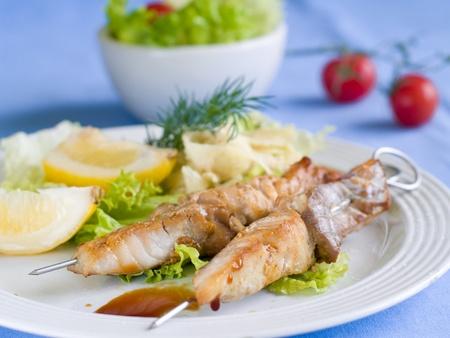 Gegrillter Fisch Kebabs mit Gemüsesalat und Zitrone