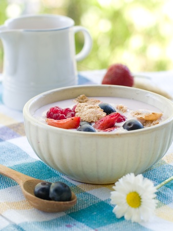 oats: Corn flakes with fresh berries and milk. Selective focus