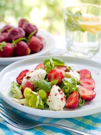 mascarpone: Fresh salad with mascarpone and strawberry. Selective focus Stock Photo