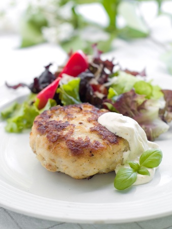 Chicken burger with fresh salad and sauce Stock Photo - 9817784