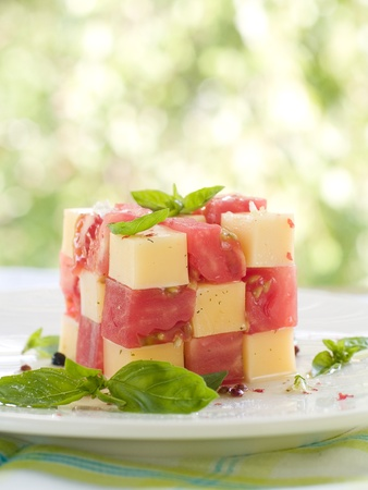 Tomato and cheese appetizer with olive oil and basil. Selective focus photo