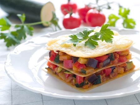 lasagna: Lasagne with vegetables and cheese. Selective focus Stock Photo
