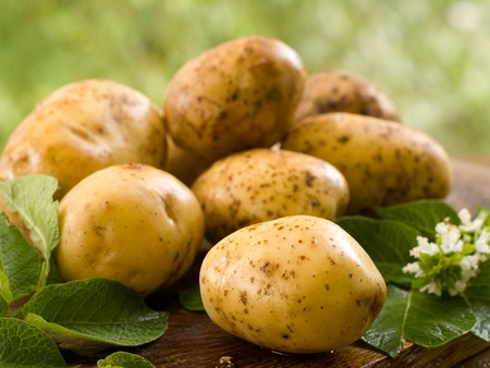 potato basket: Basket of fresh tasty new potatoes. Selective focus
