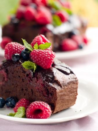 chocolate cake: Beautiful chocolate cake with fresh berry. Selective focus