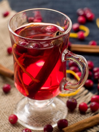 Hot drink with cranberries and cinnamon. Selective focus photo