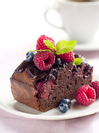 Beautiful Chocolate Cake With Fresh Berry Selective Focus Stock