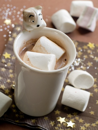 Hot chocolate with marshmellows in a christmas theme. Selective focus photo