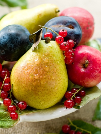 fruit bowl: Fresh ripe pears, plums, red currant and apples in bowl on natural background. Selective focus  Stock Photo