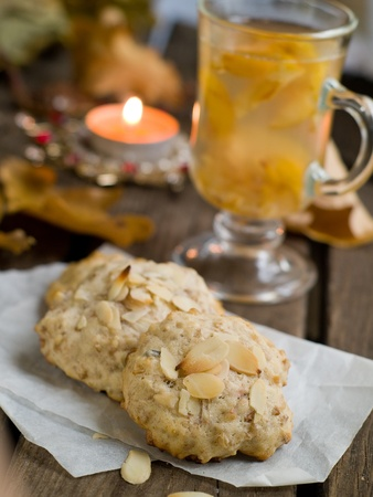 oats: Oatmeal cookies with tea. Selective focus Stock Photo