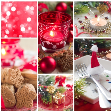 Collage made from Christmas photos, christmas decoration photo