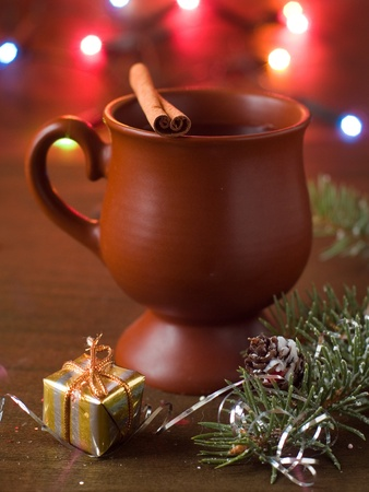 Mulled wine in cup, selective focus photo