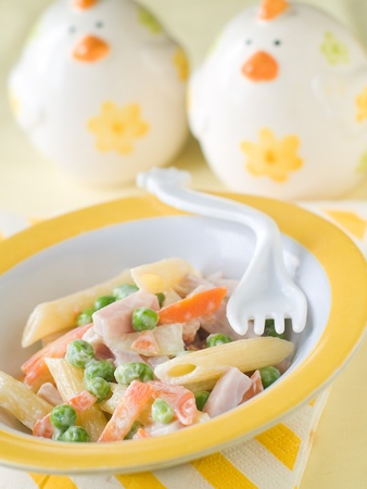 macaroni: Fresh pasta with vegetables and ham  for baby. Shot for a story on homemade, organic, healthy baby foods. Stock Photo