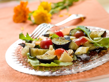 grilled vegetable salad with parmesan, selective focus