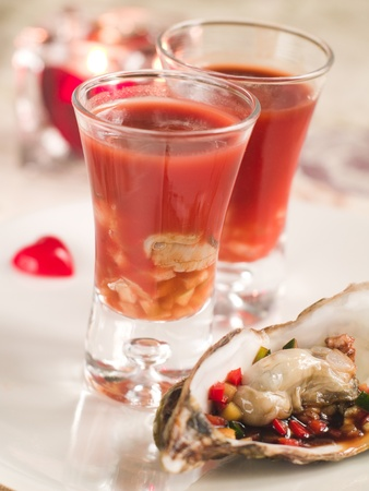 BloodY Mary or tomato juice with oyster, selective focus Stock Photo - 11766700