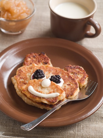 bear berry: Cottage cheese pancake like bear, selective focus. Shot for a story on homemade, organic, healthy baby foods.  Stock Photo