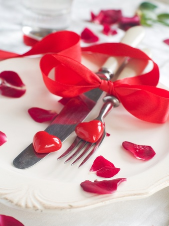 Holiday place setting for Valentine day special celebration meals, selective focus photo