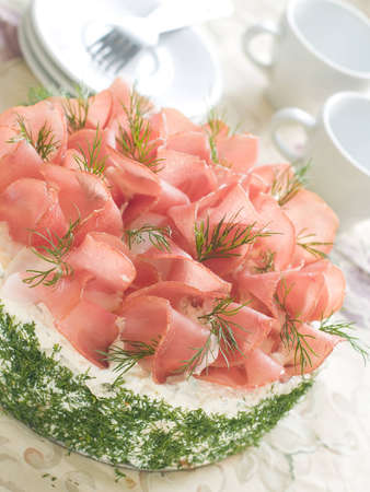 Sandwich cake with prosciutto and dill for appetizer, selective focus Stock Photo - 12394320