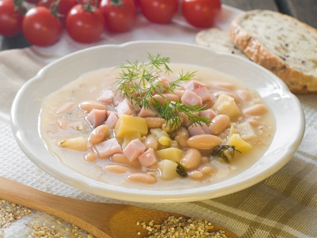 Vegetable soup with beans and ham, selective focus Stock Photo - 12879593