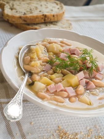 Vegetable soup with beans and ham, selective focus Stock Photo - 12879594