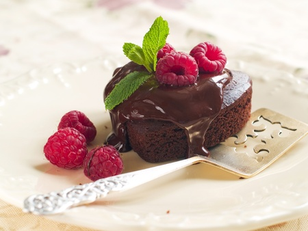 Beautiful chocolate cake with fresh raspberry. Selective focus