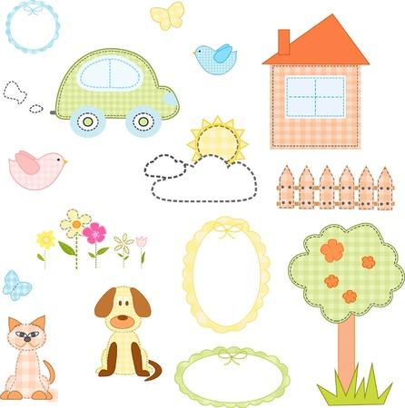 flor caricatura: Juego de pegatinas textiles, ilustración vectorial