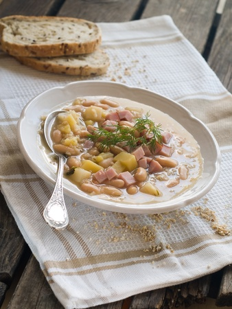 Vegetable soup with beans and ham, selective focus Stock Photo - 13294935