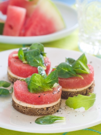Watermelon appetizer with bread and cheese, selective focus photo