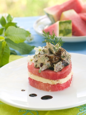 Watermelon appetizer with chicken and cheese, selective focus photo