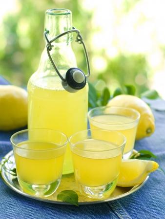 Lemon liqour Limoncello im Glas auf natürlichen Hintergrund Selektive Fokus