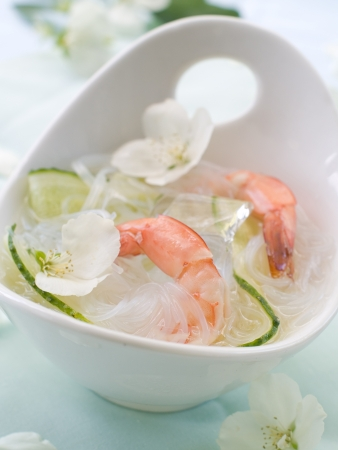 Shrimp and noodle soup with cucumber, selective focus Stock Photo - 14513317
