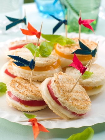 Sandwiches with mozzarella and tomato, selective focus photo