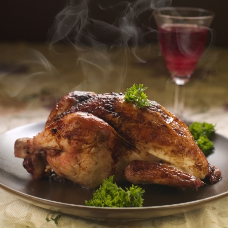 roasted chicken: Baked whole chicken with parsley for dinner, selective fous