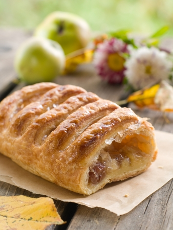 strudel: slice of an apple strudel on a baking paper  Stock Photo