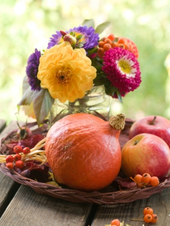 Composition with an autumn apples, flowers and pumpkin, selective focus photo