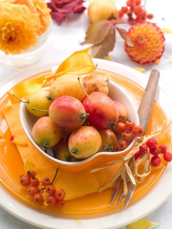 arrangment: Table setting in orange and yellow tones, selective focus Stock Photo