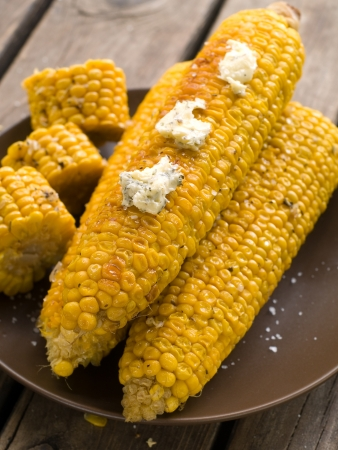 Grilled corn with butter, selective focus Stock Photo - 15045823