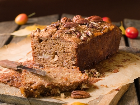 Nuts  and honey cake, selective focus photo
